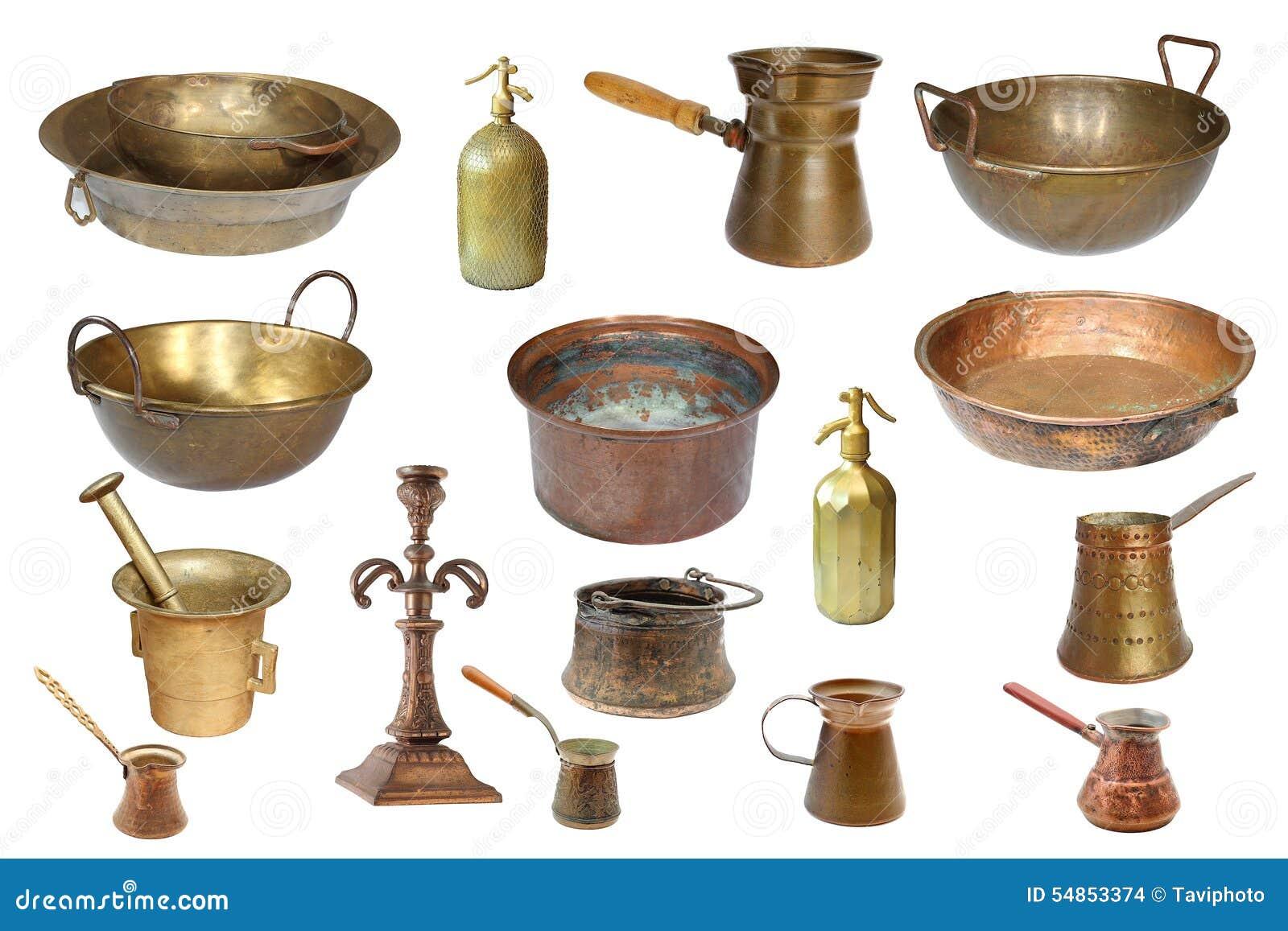 Colecci n de objetos aislados del cobre del vintage foto de archivo imagen 54853374 - Objetos fabricados con cobre ...