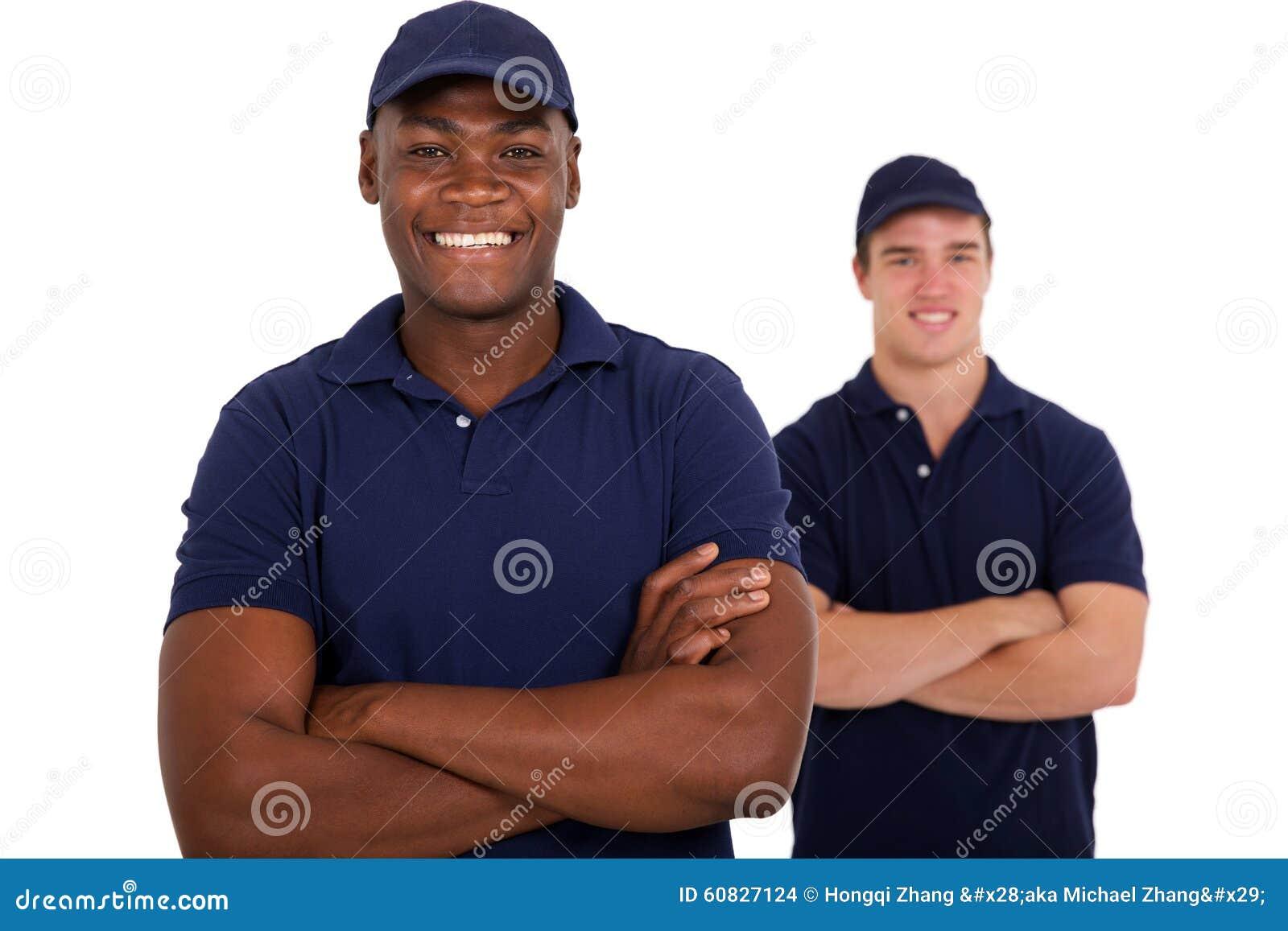 Colega africano del trabajador