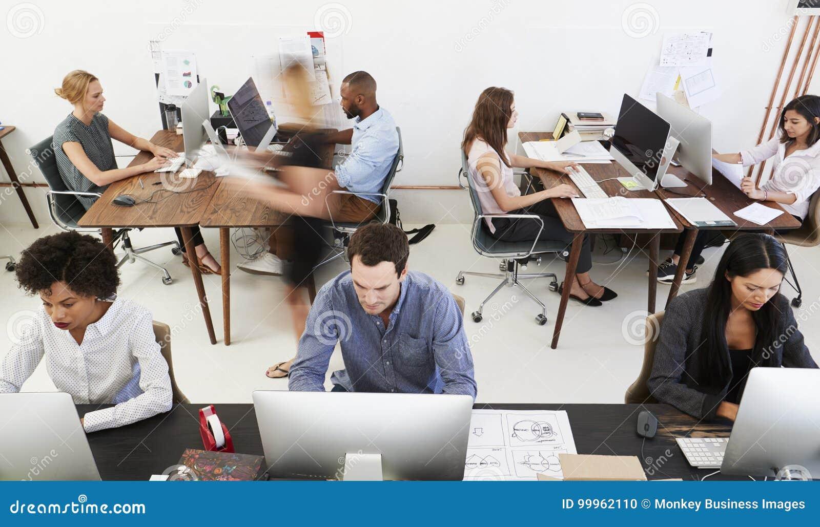 Colegas em computadores em um escritório de plano aberto, vista dianteira