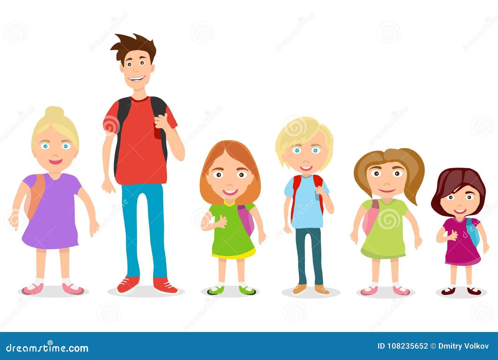 962896dd25e Colegiales Con Las Mochilas Niños En Un Fondo Blanco Stock de ...