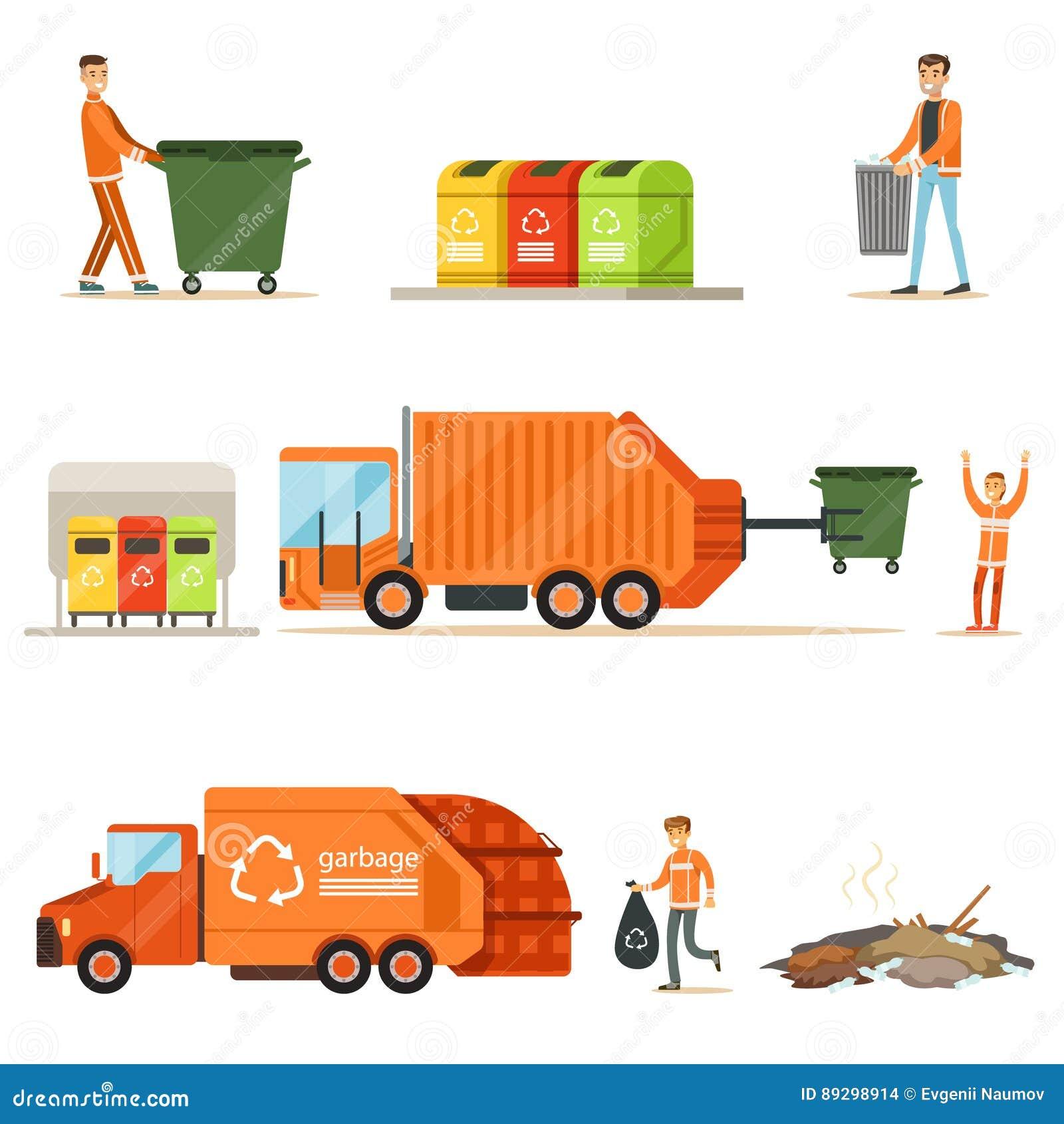 Coletor De Lixo At Work Series Das Ilustracoes Com Reciclagem De