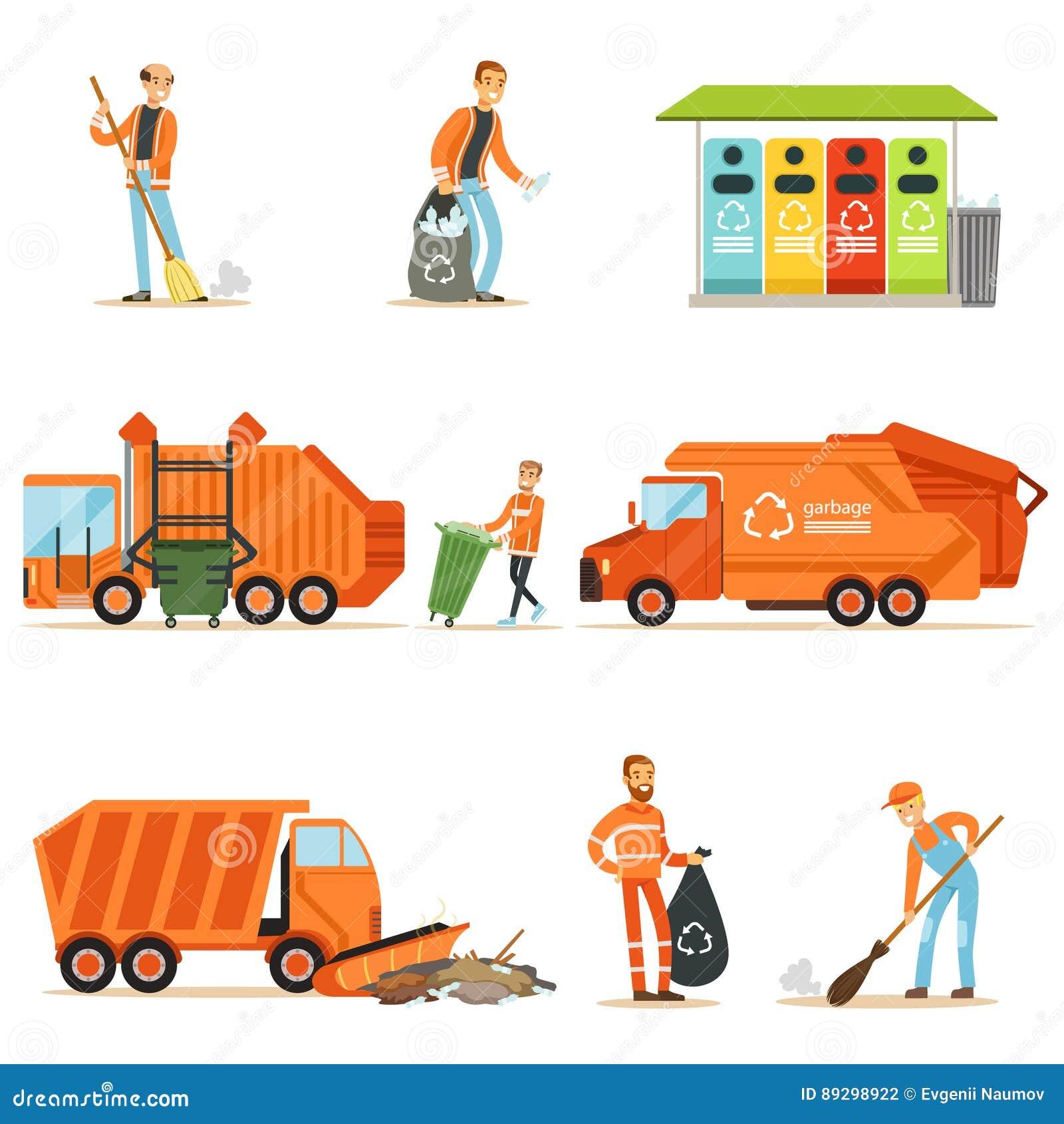 Coletor De Lixo At Work Set Das Ilustracoes Com Reciclagem De