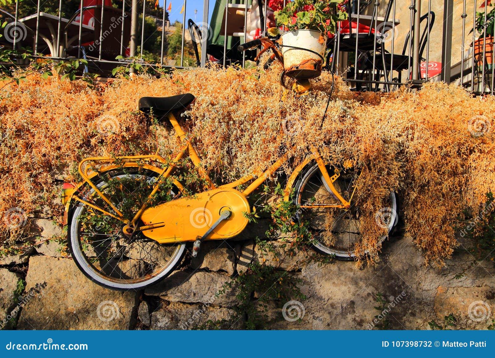 Colgante para arriba de la bicicleta amarilla