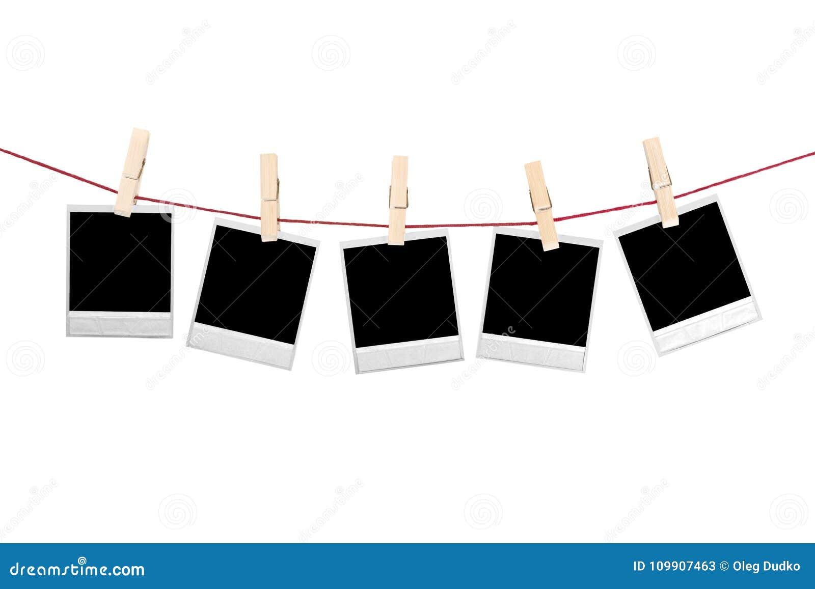 Colgante Polaroid De Cinco Fotos Aislado En Blanco Imagen de archivo ...