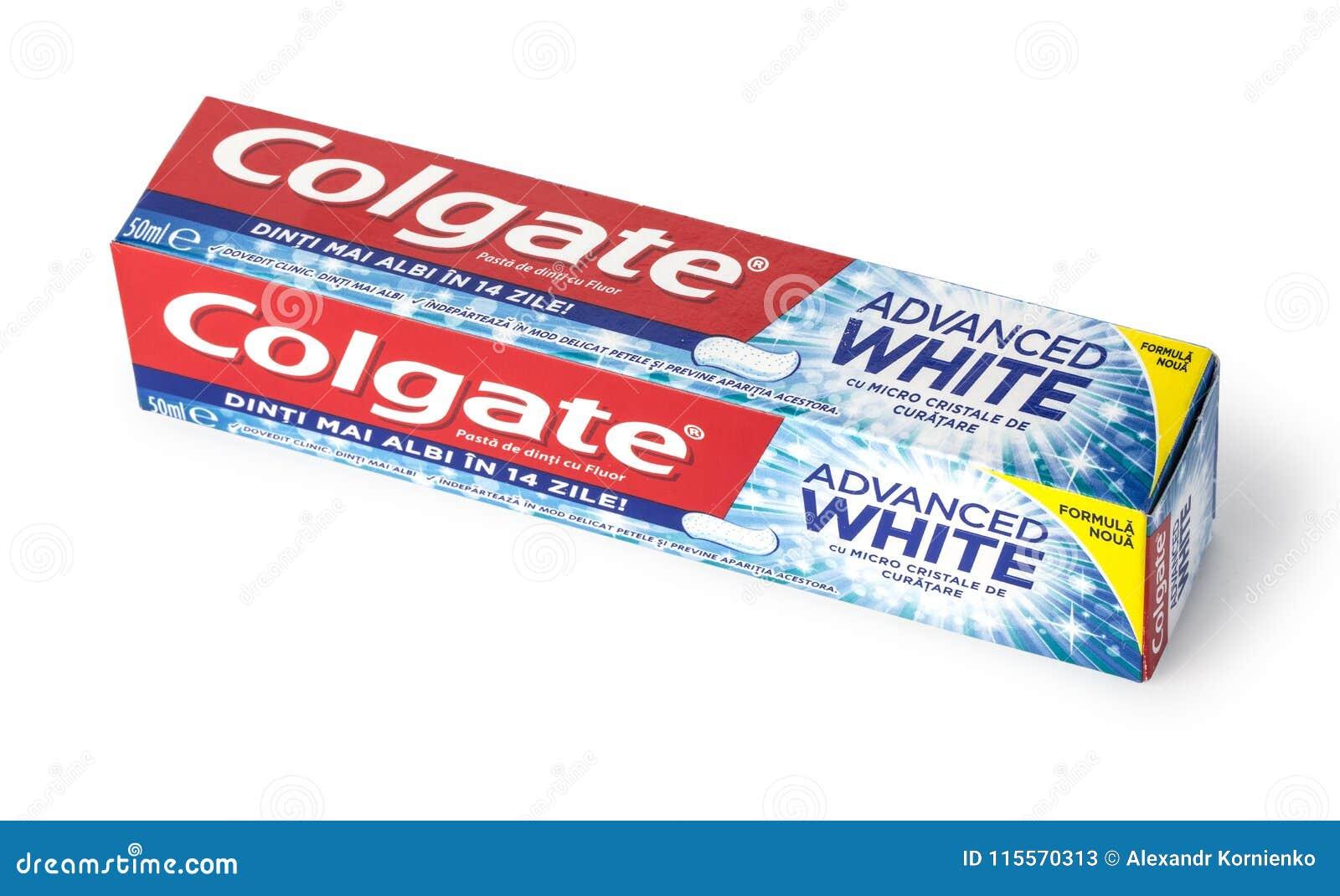 Colgate-Tandpasta, Geavanceerd die Sensatiewit, op wit wordt geïsoleerd