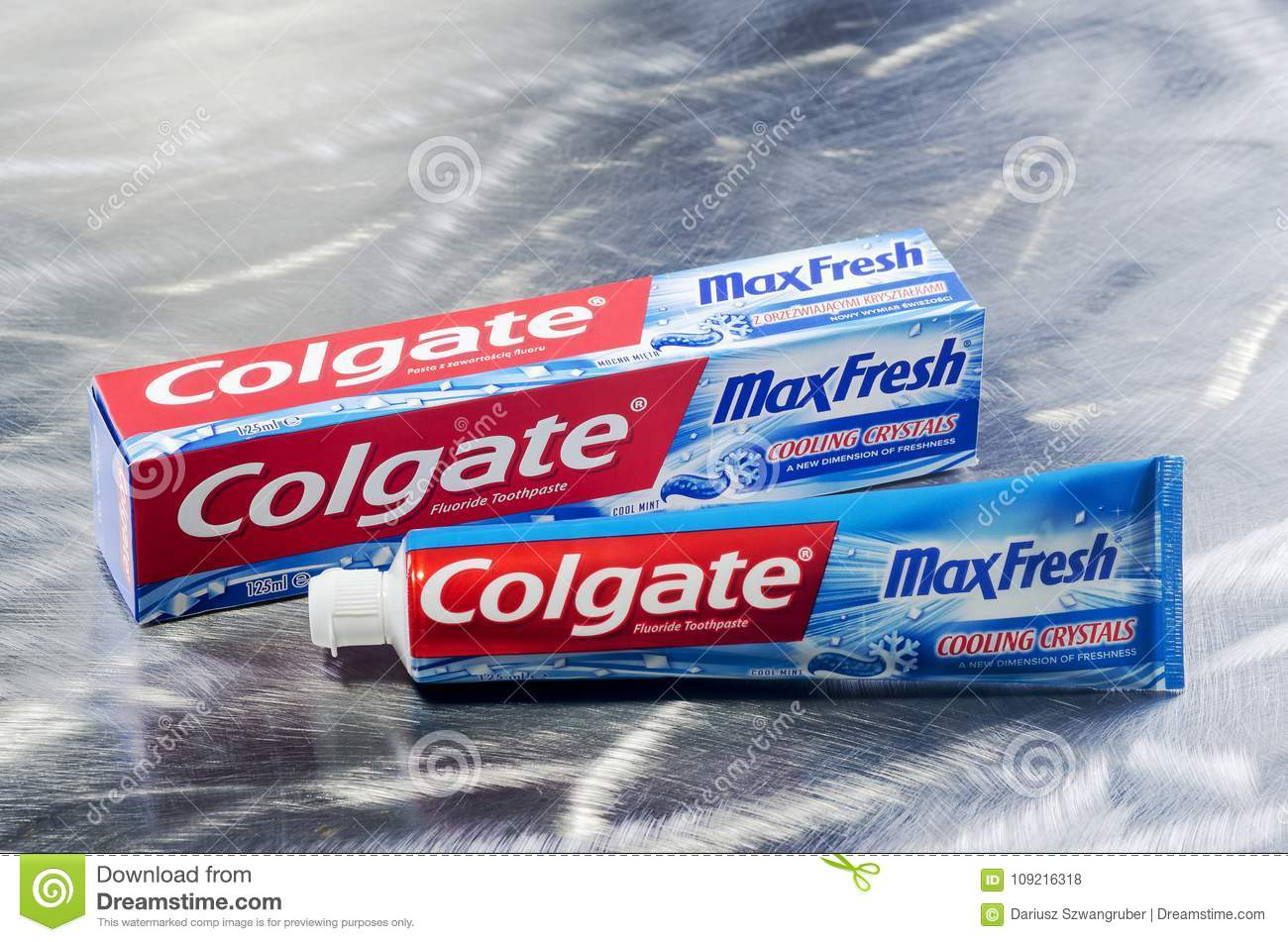 Colgate Toothpaste Isolated On Metal Background  Editorial