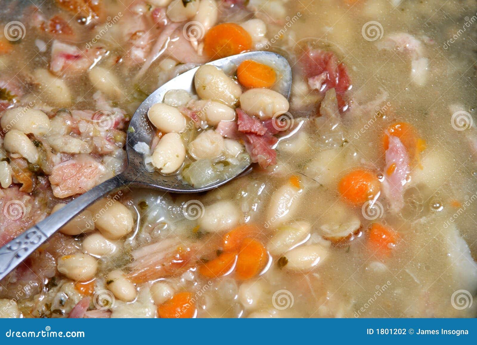 Colher na sopa de feijão.
