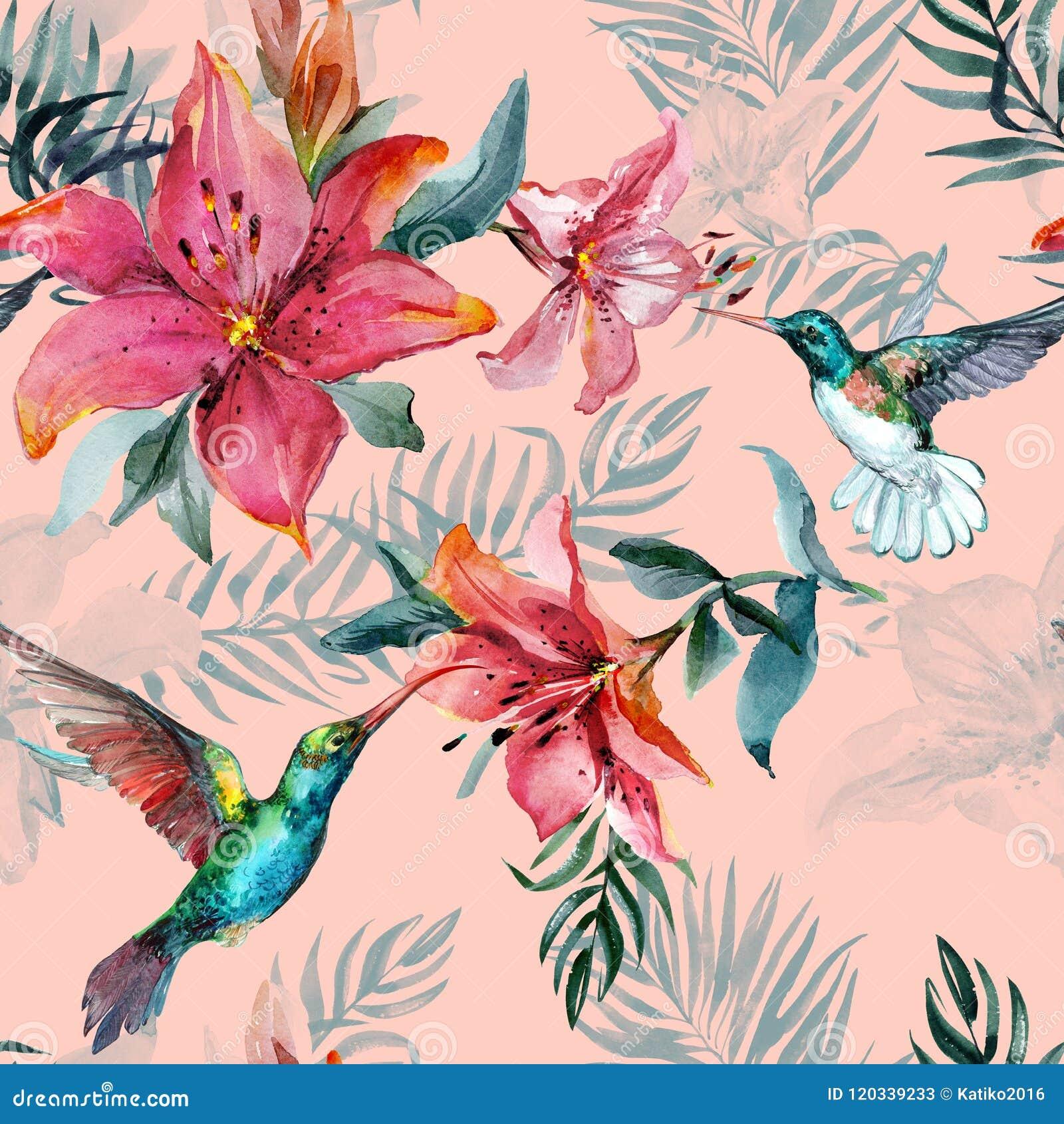 Colibríes coloridos hermosos del vuelo y flores rojas en fondo rosado Modelo inconsútil tropical exótico Pintura de Watecolor