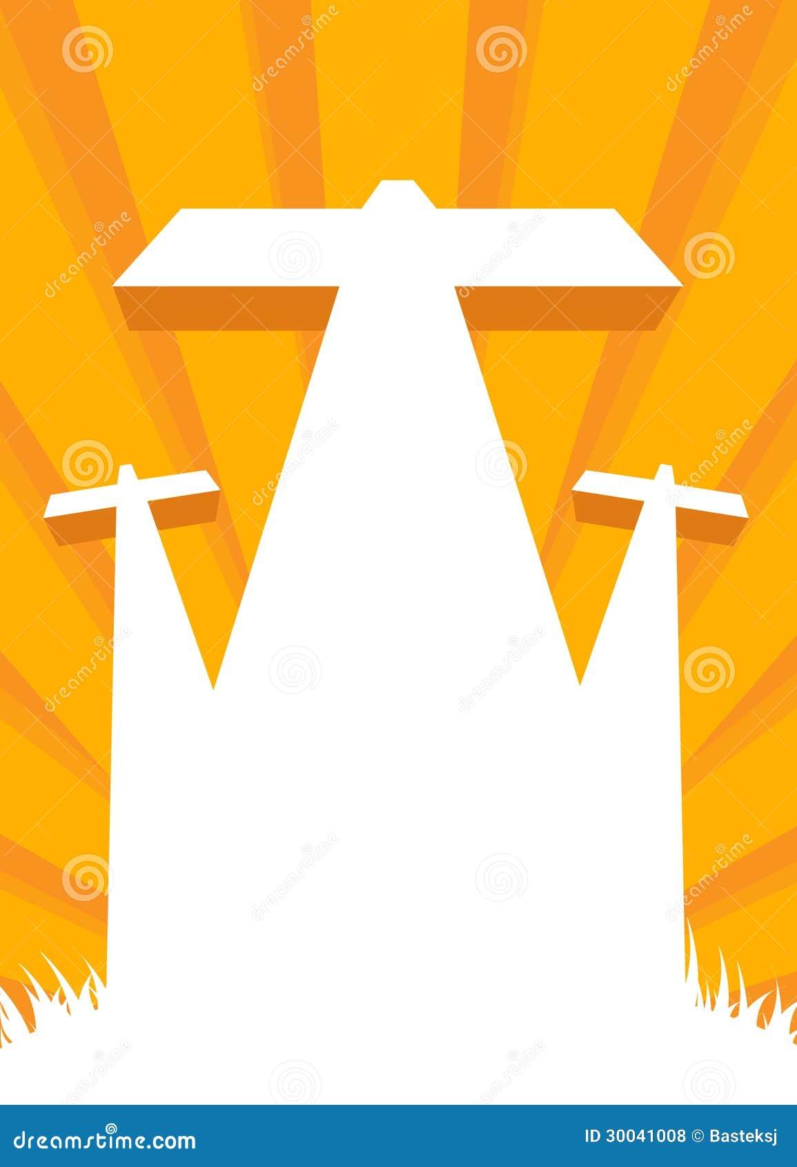 Crucifixión de Jesús - escena del calvary con la cruz tres