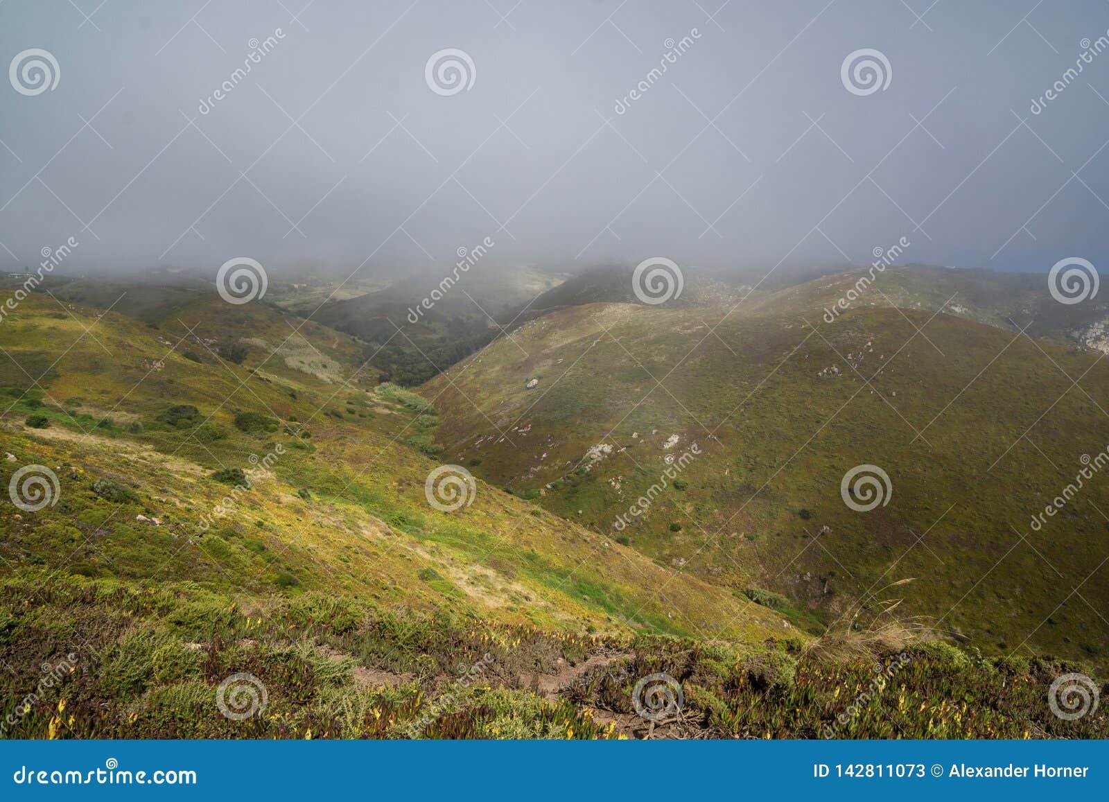 Colinas de niebla cerca de cabo de roca