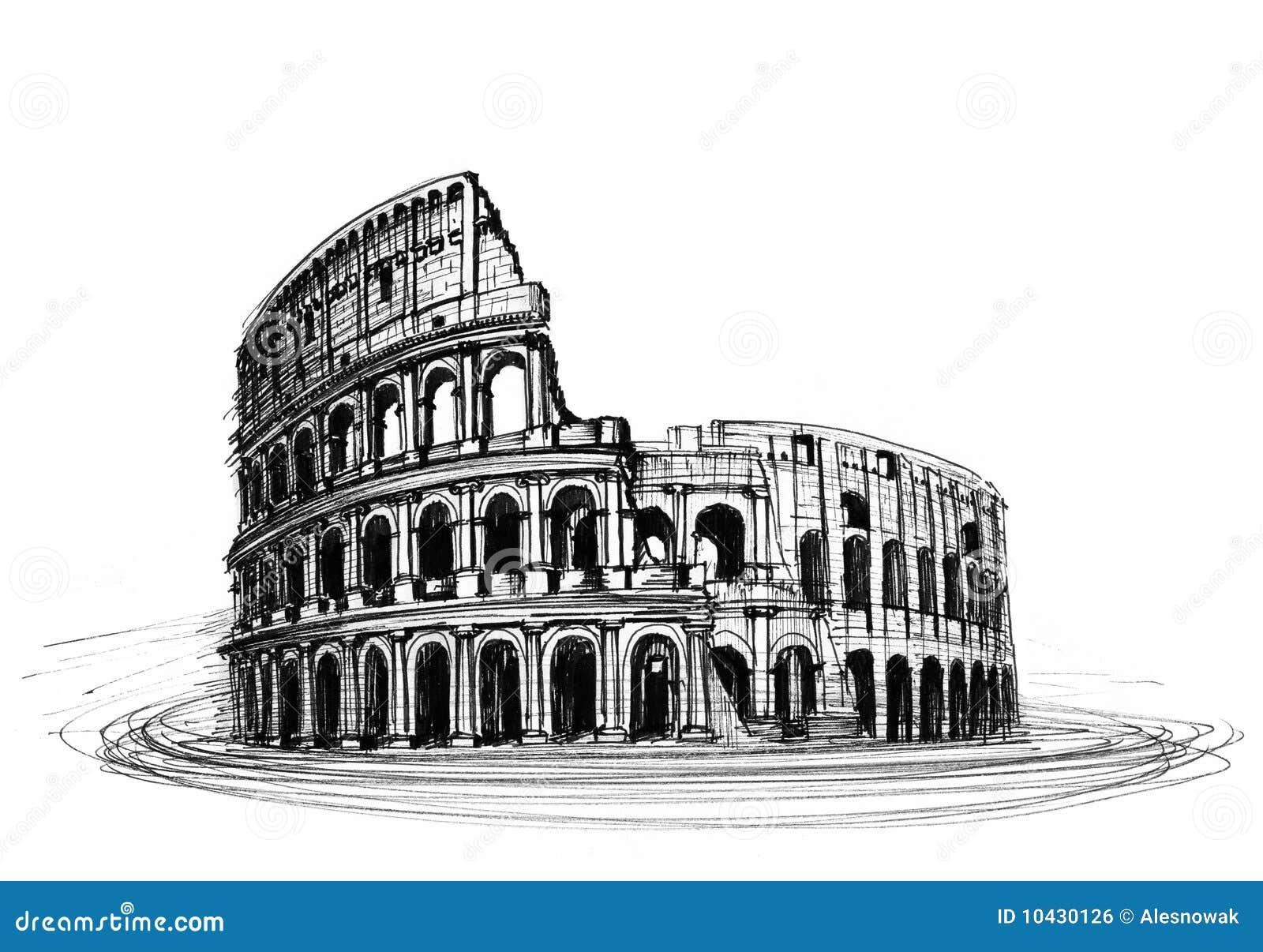 Coliseo Stock De Ilustración Ilustración De Carbón Casi 10430126
