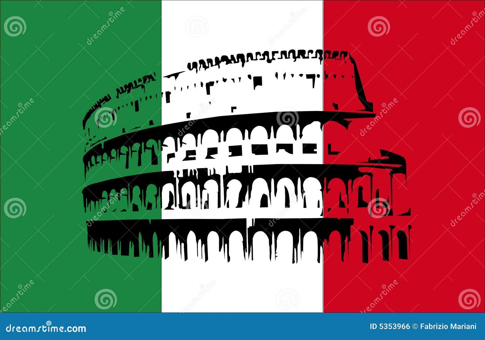 Coliseu e bandeira de Italy