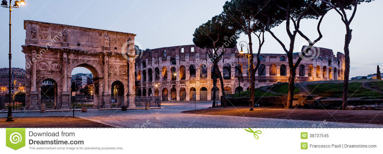 Coliseum and arch in Rome. Italy