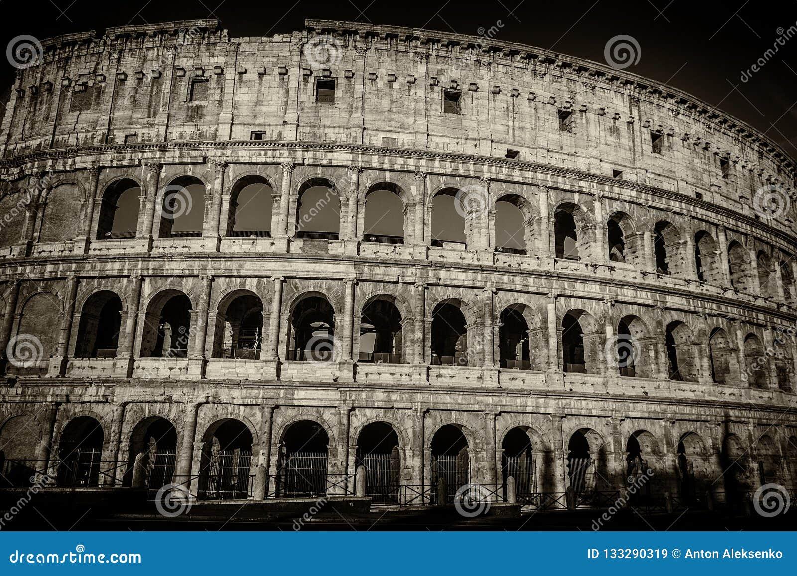 Coliseum in rome black and white photo retro style