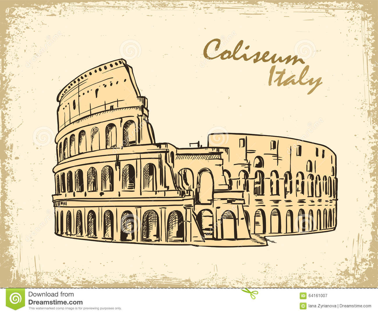 Coliseum In Rome, Italy. Colosseum Hand Drawn Vector Illustration Stock Vecto...