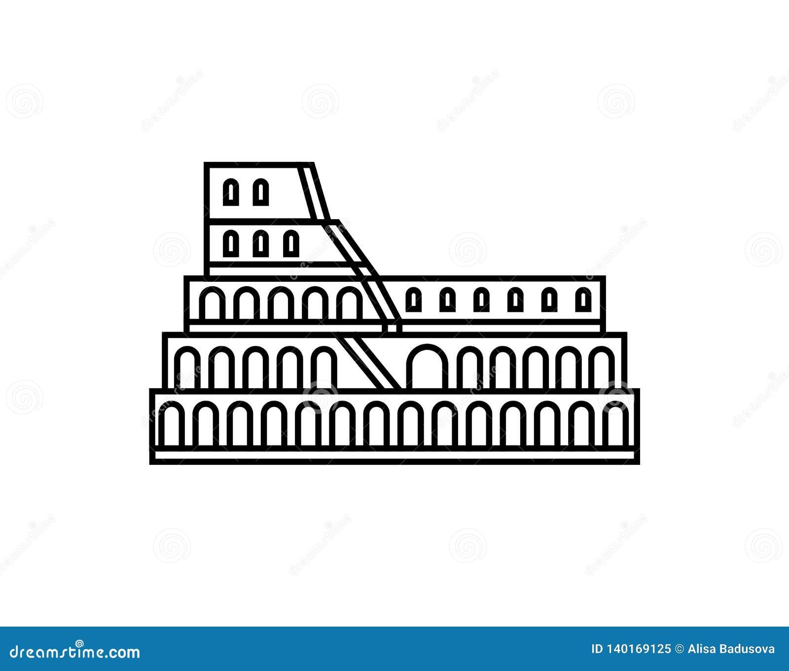 Coliseum vector icon. Italian symbol logo illustration.