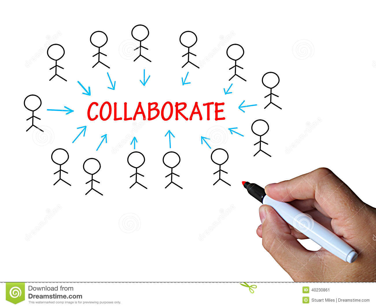 collaborate on whiteboard means cooperative stock illustration collaborate on whiteboard means cooperative