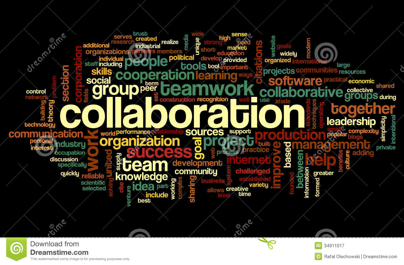 Collaborative Teaching Concepts ~ Collaboration concept in word tag cloud stock illustration