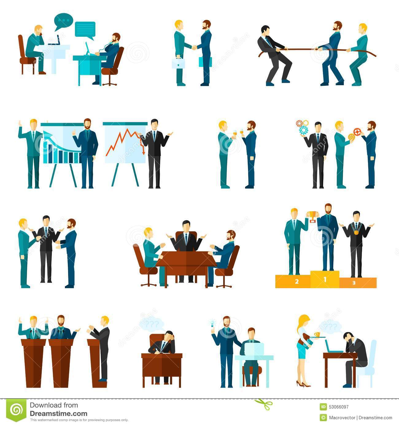 Collaboration Icons Set Stock Vector Image Of Deal