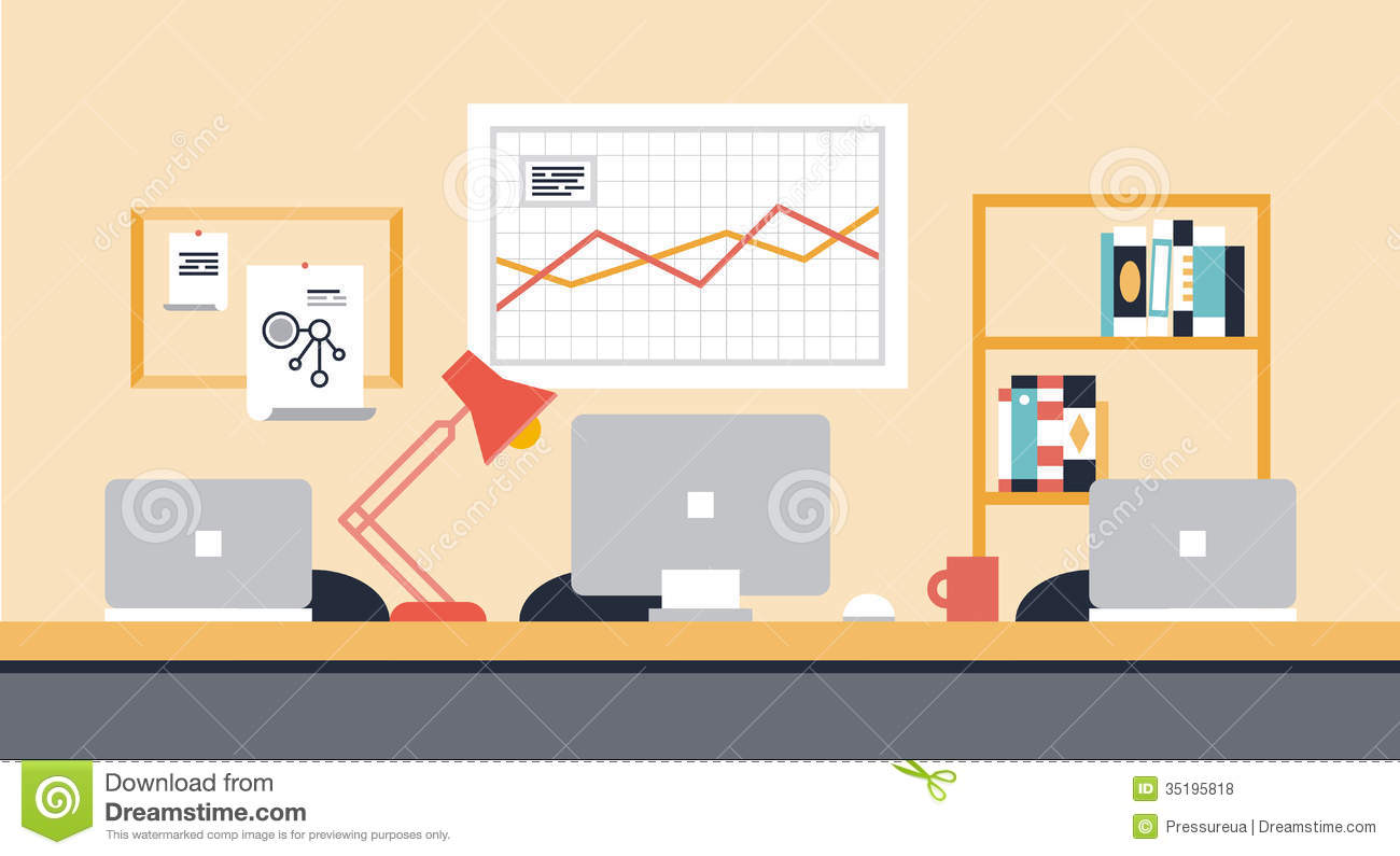 Collaboration workspace office illustration stock vector Office designer online