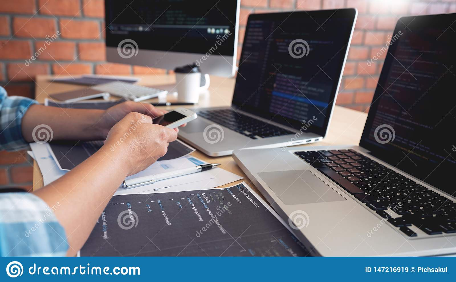 Collaborative work Software engineers website developer technologies or programmer working coding on startup ai application