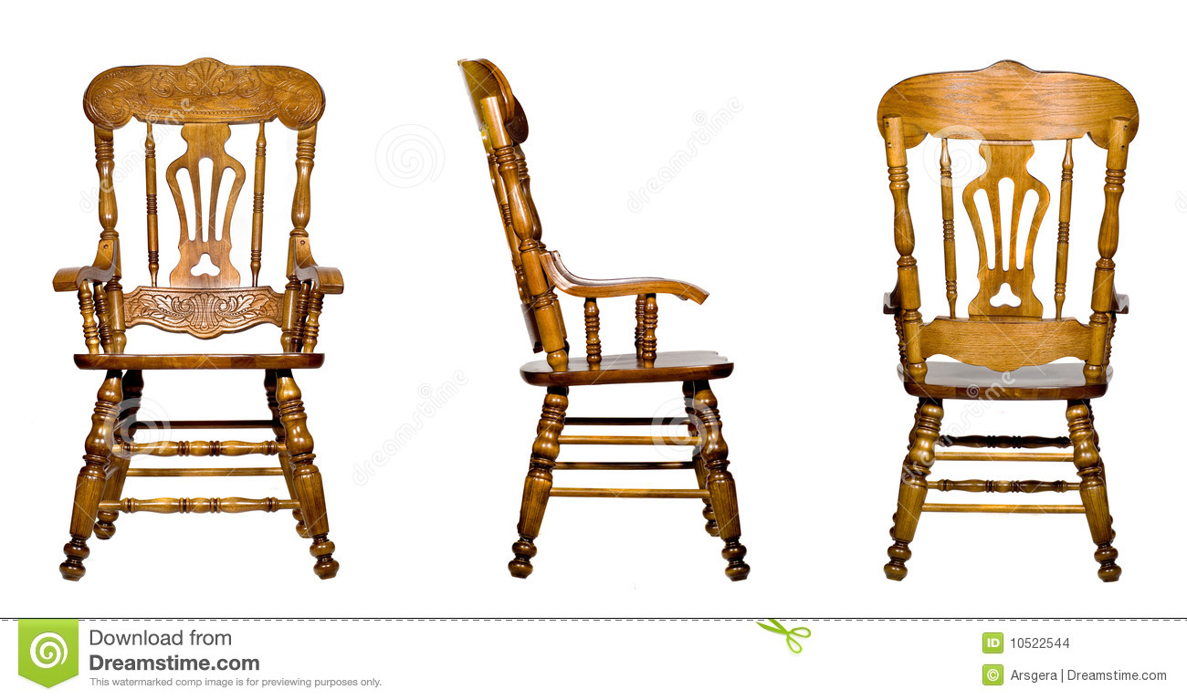 Wooden chair front view - Collage Of 3 Antique Wooden Chair Views Isolated Stock Images