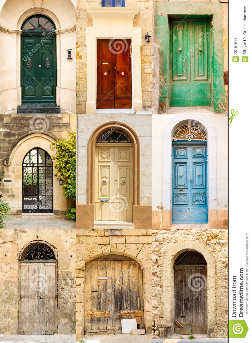 Collage Of 9 Colourful Colored Front Doors Royalty Free