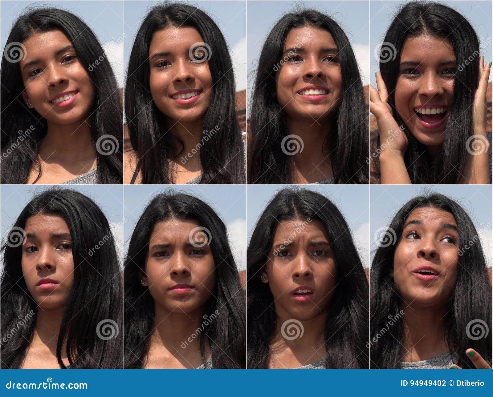 Collage adolescente femenino feliz e infeliz