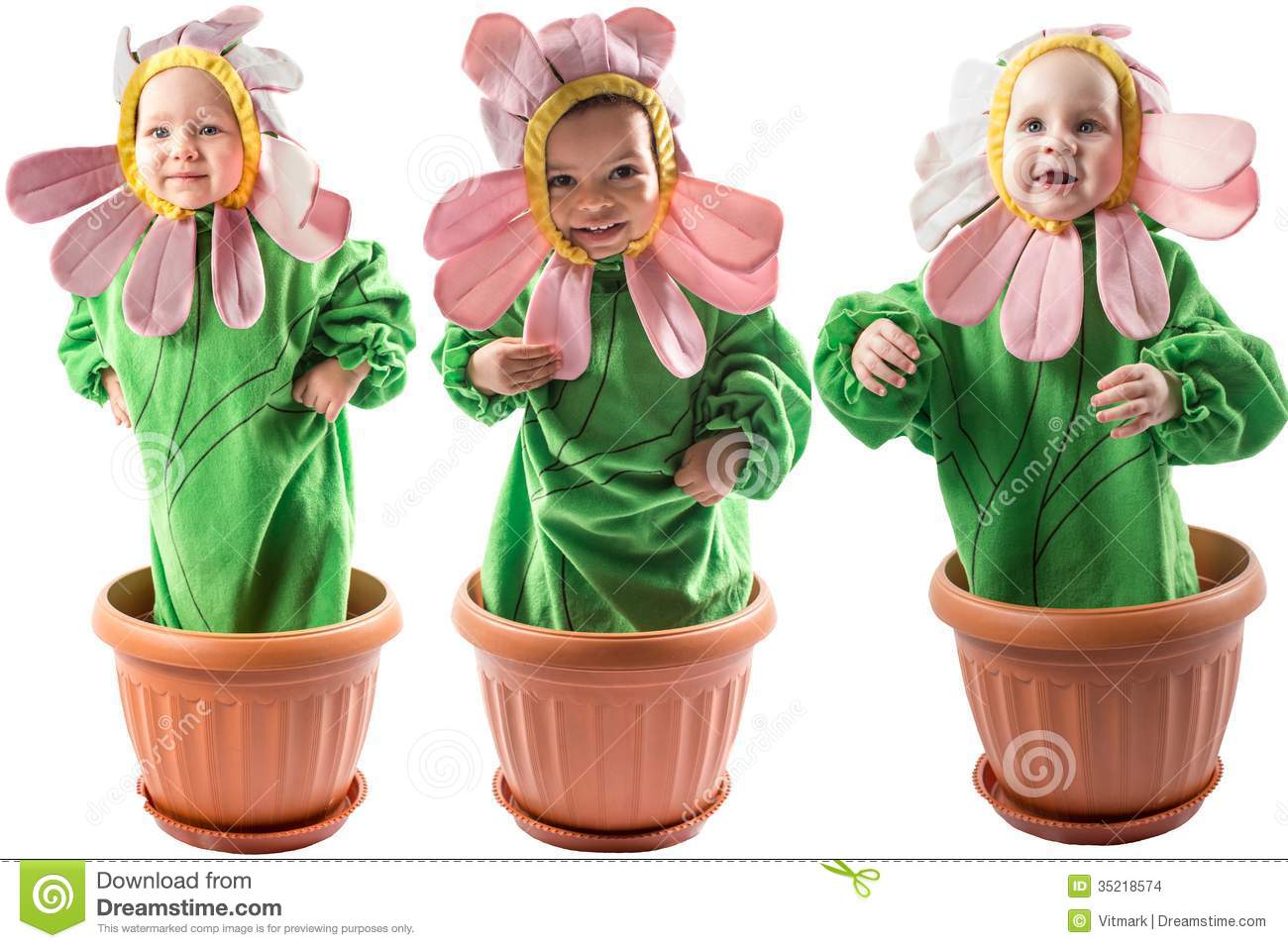 Collage Of Adorable Baby Boy And Girl, Dressed In Flower ...