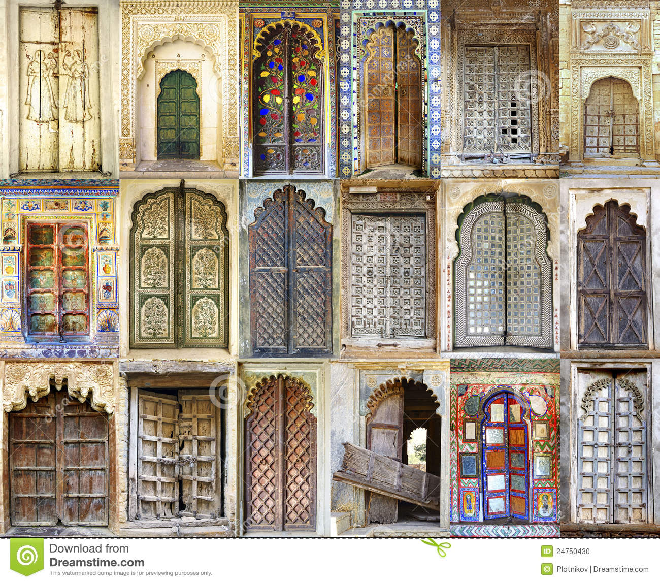 Collage Of The Ancient Indian Doors Stock Photo Image