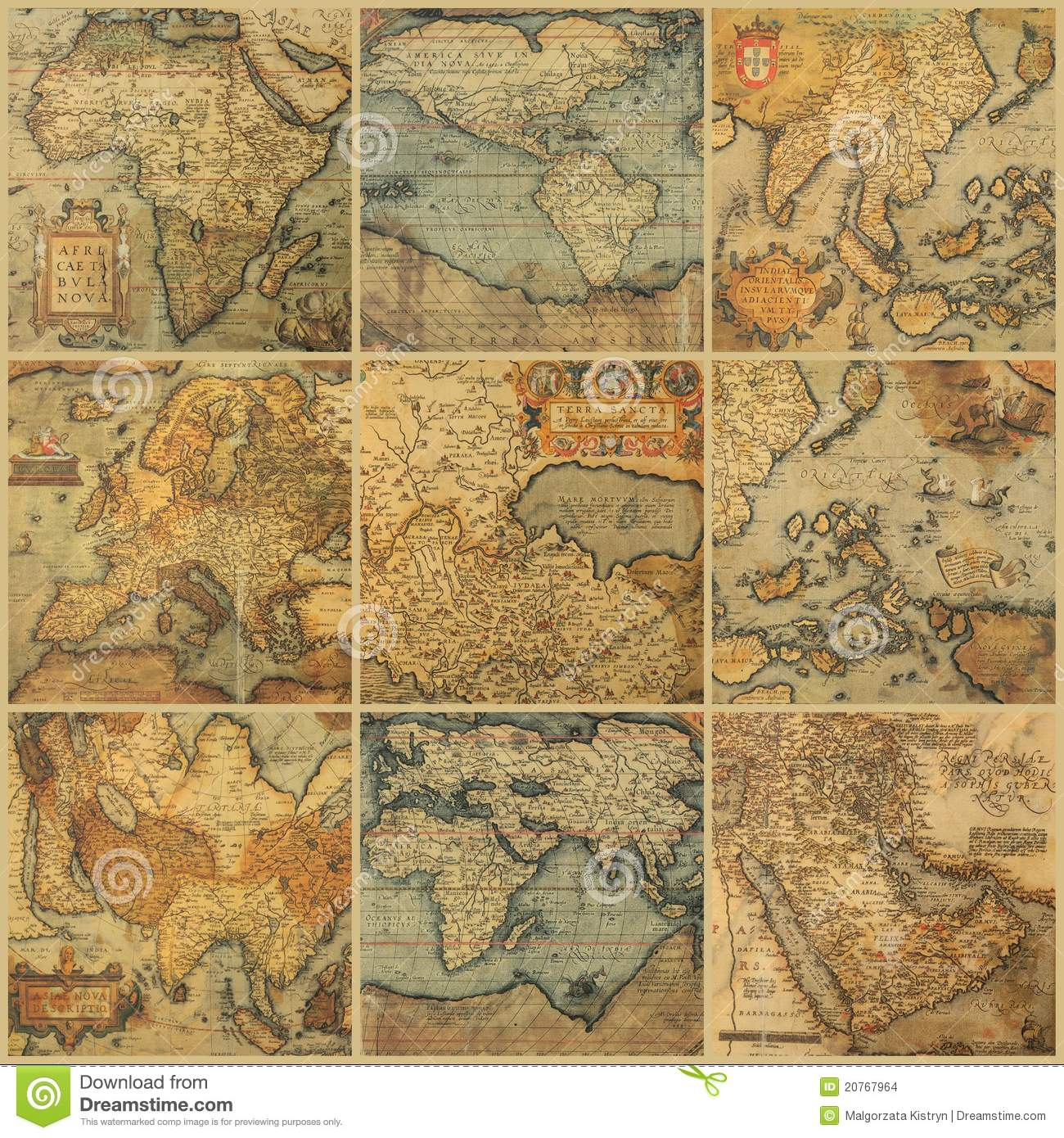 Collage with antique maps of different parts of thr world.