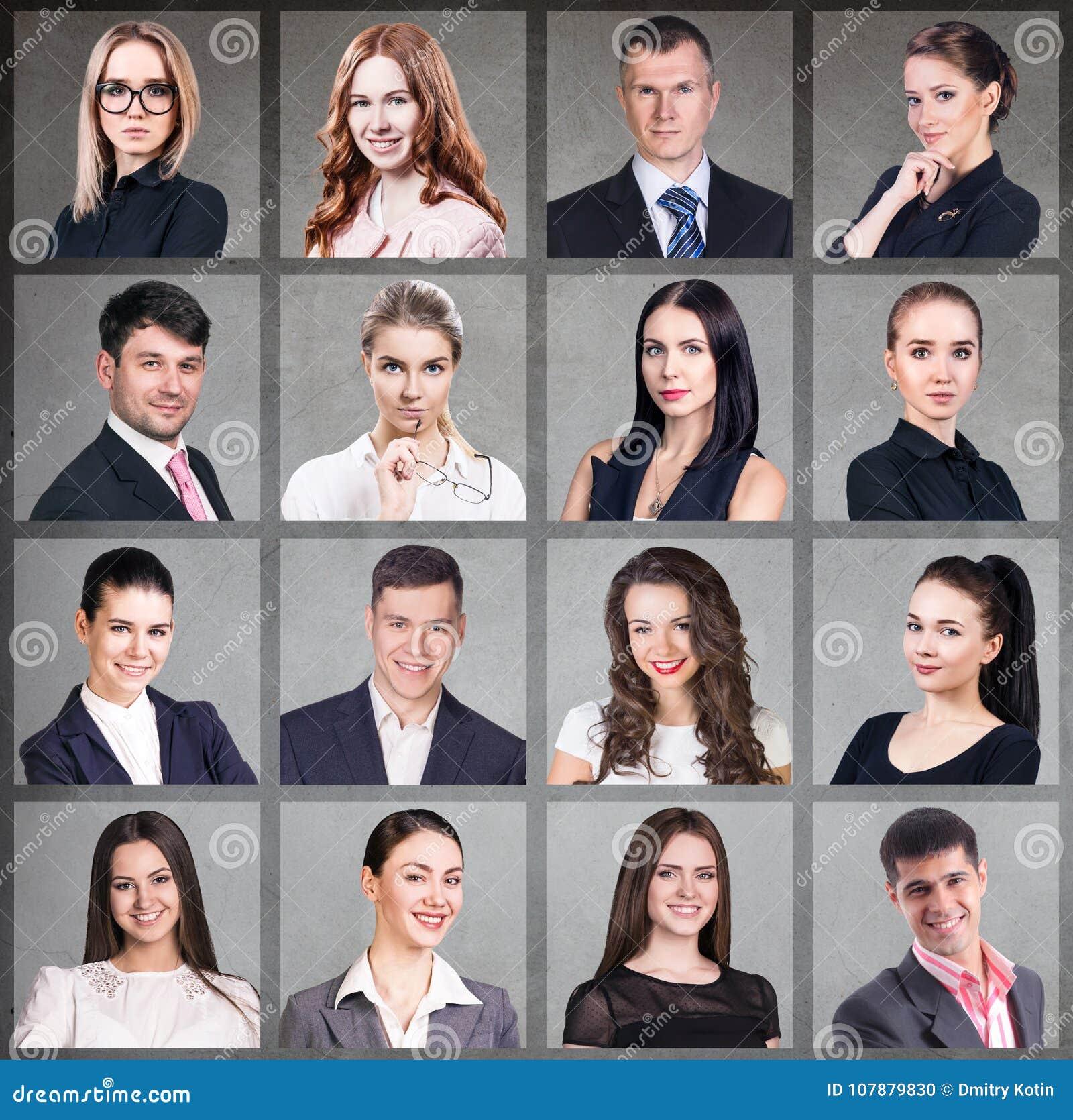 Collage av affärsfolk i fyrkant