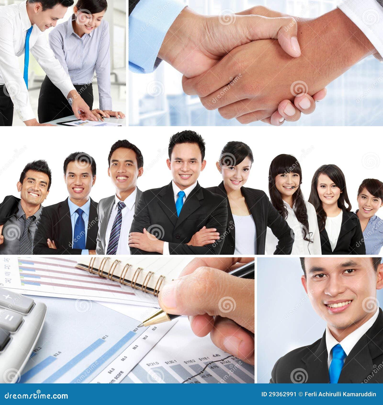 Collage av asiatiskt affärsfolk