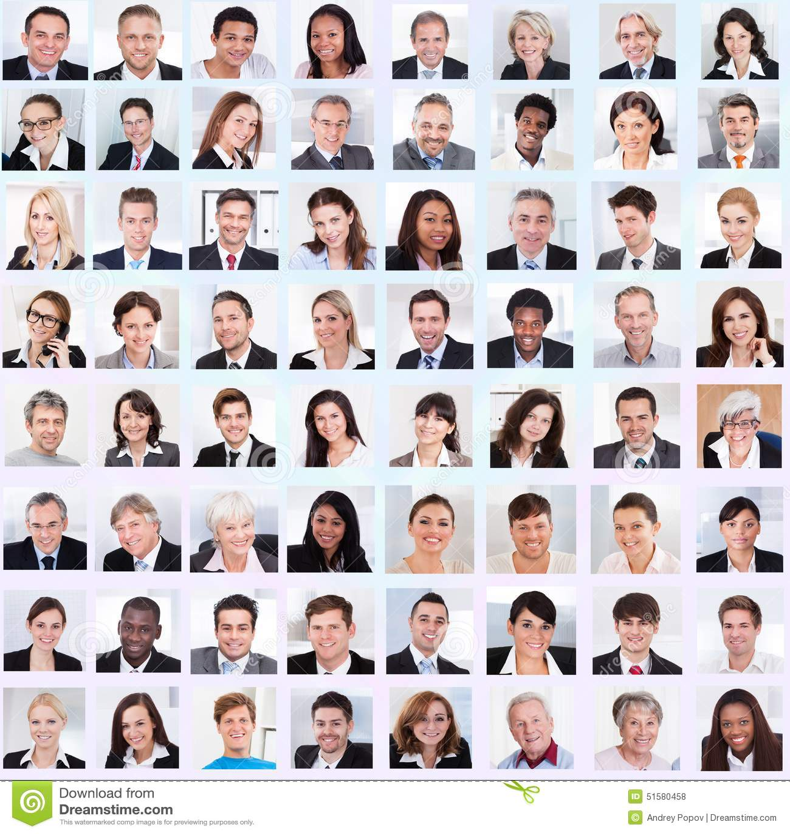 Collage av att le för affärsfolk