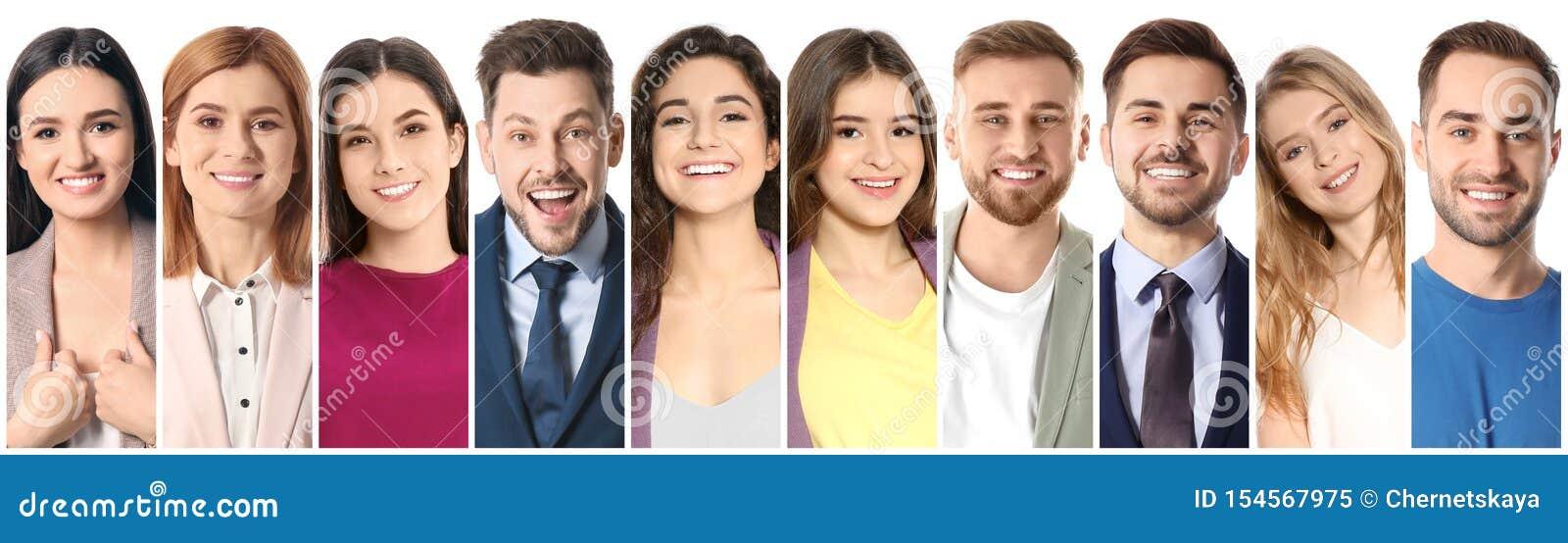 Collage av att le folk på vit bakgrund