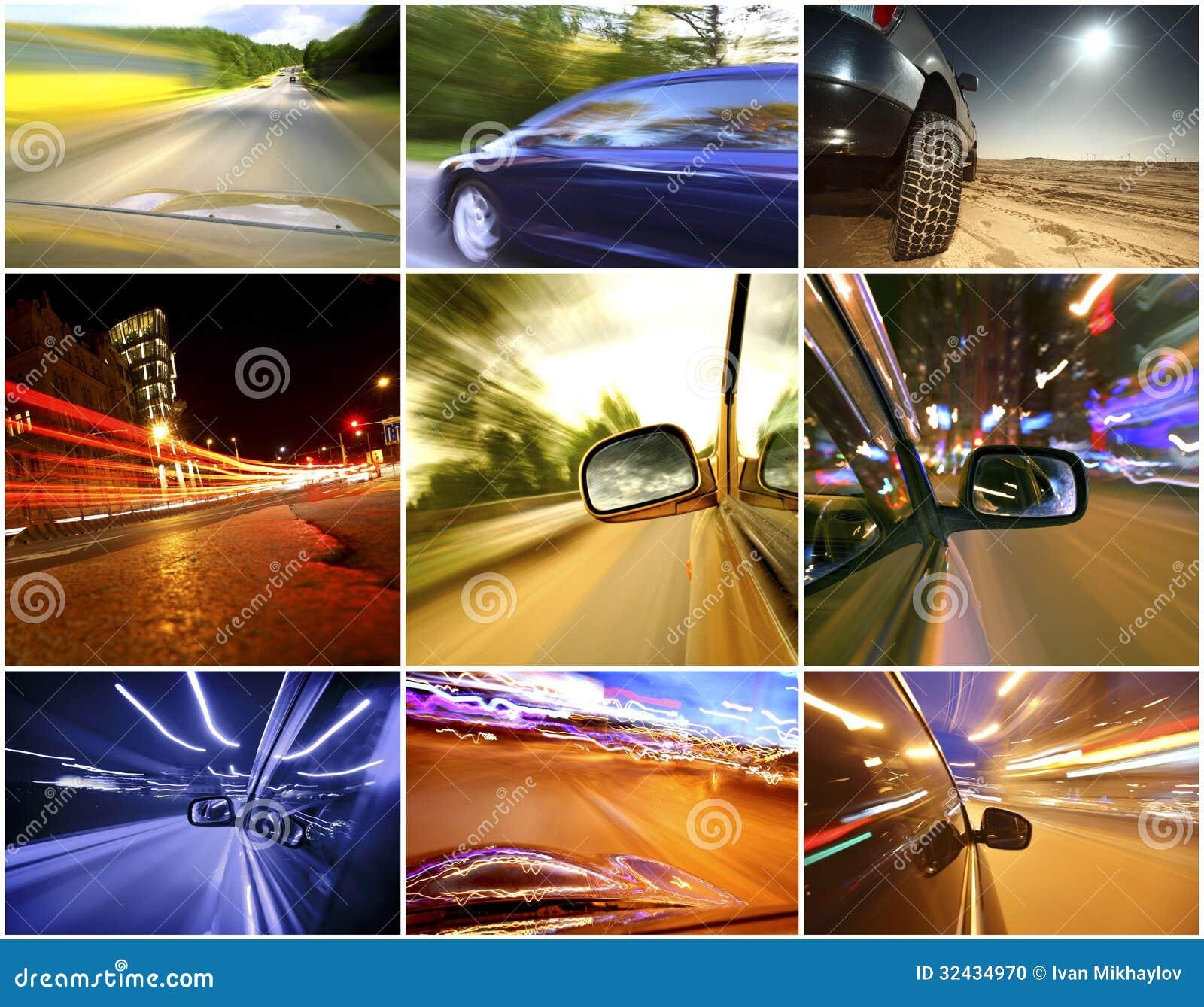 Collage av bilar
