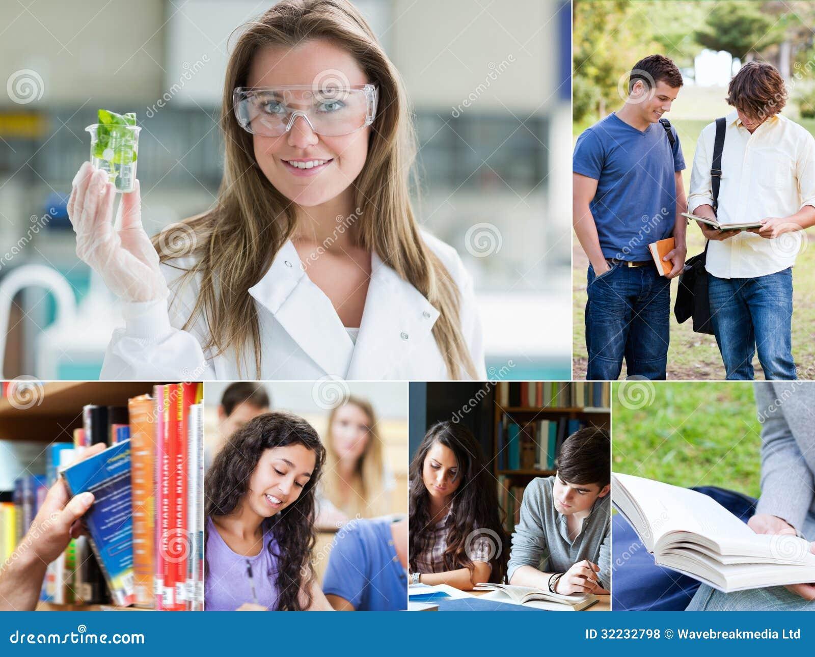 Collage av bilder med olika studenter