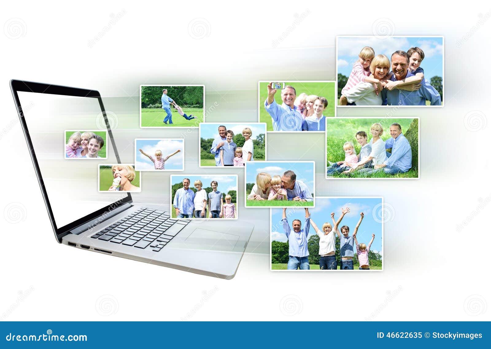 Collage av bilder ut från bärbara datorn
