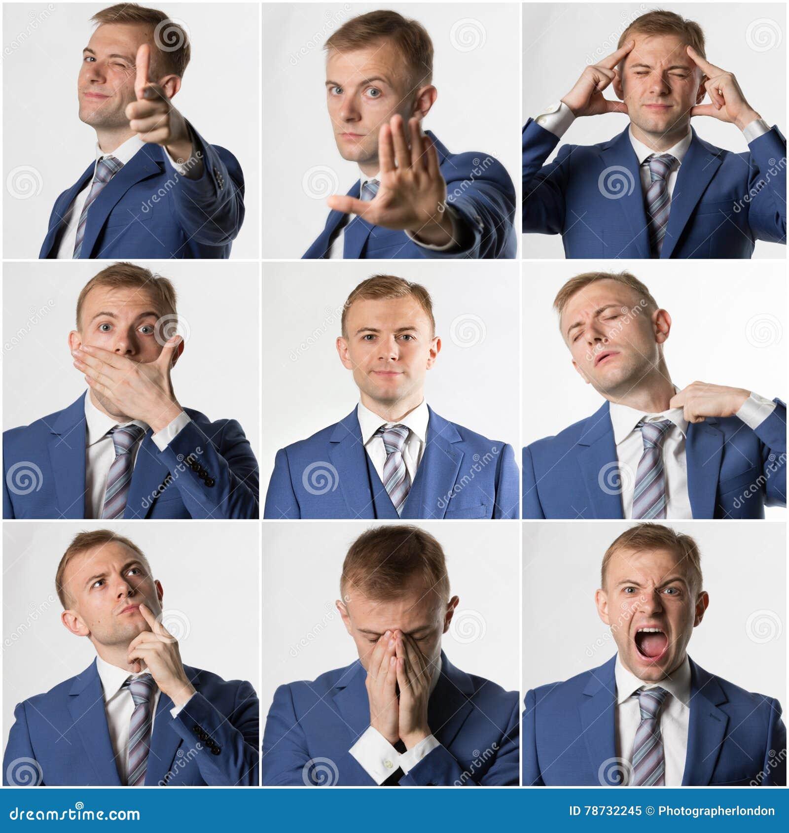 Collage av den olika affärsmannen poserar och epressions