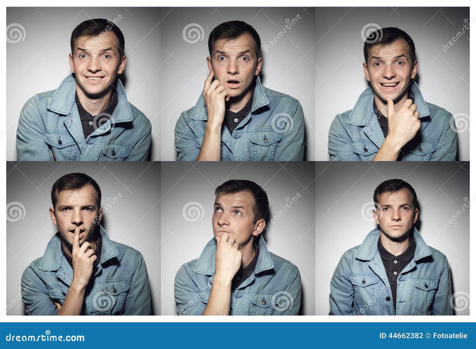 Collage av den unga mannen med olika uttryck