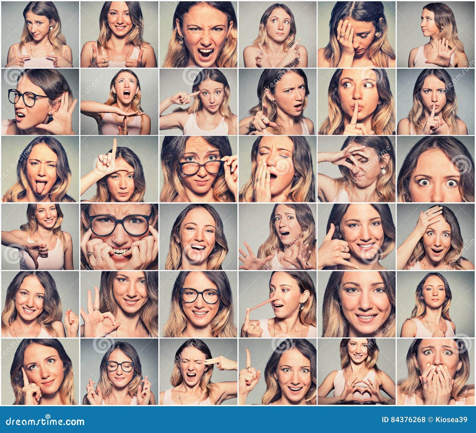 Collage av en ung kvinna som uttrycker olika sinnesrörelser