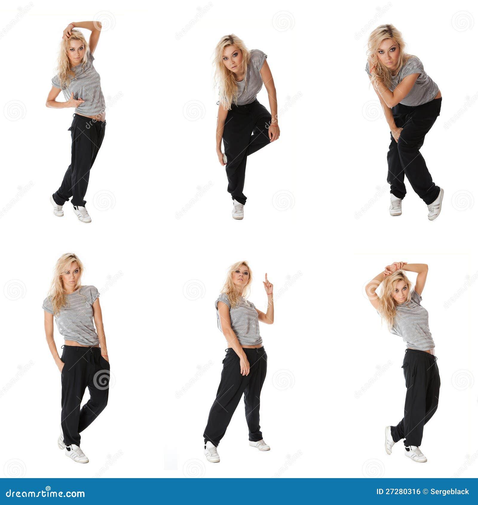 Collage av för höftflygtur för bilder den stilfulla dansare