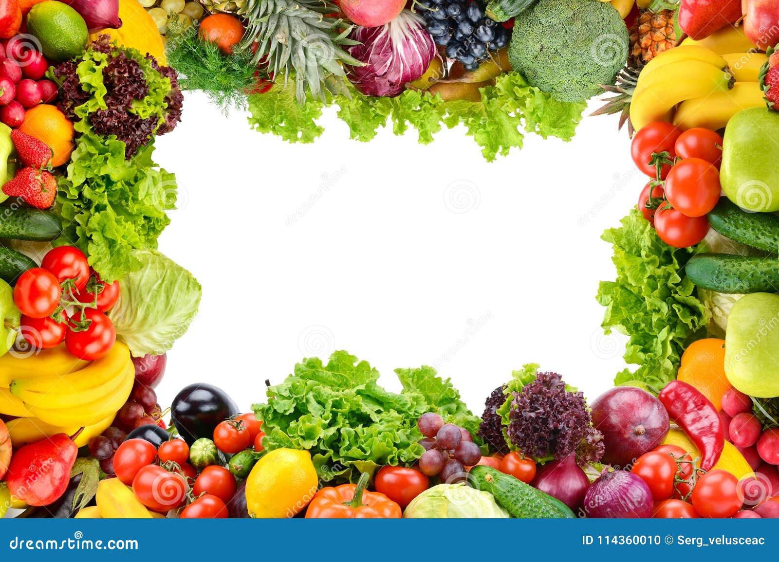 Collage av frukter och grönsaker som ramen som isoleras på vit