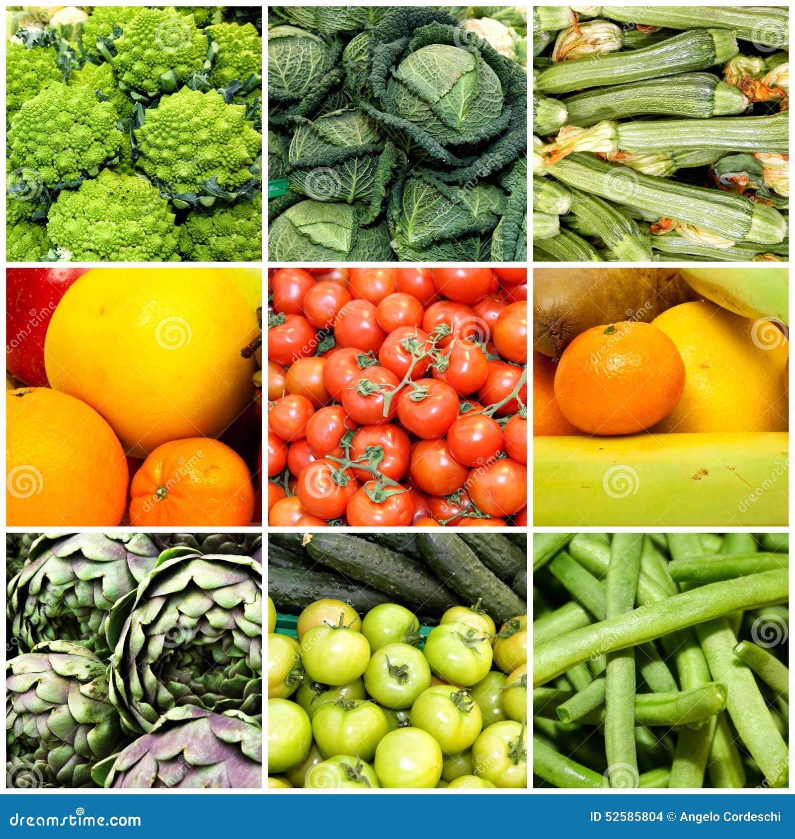 Collage av grönsaker och frukter, begrepp av hälsa och wellness Strikt vegetarian bantar