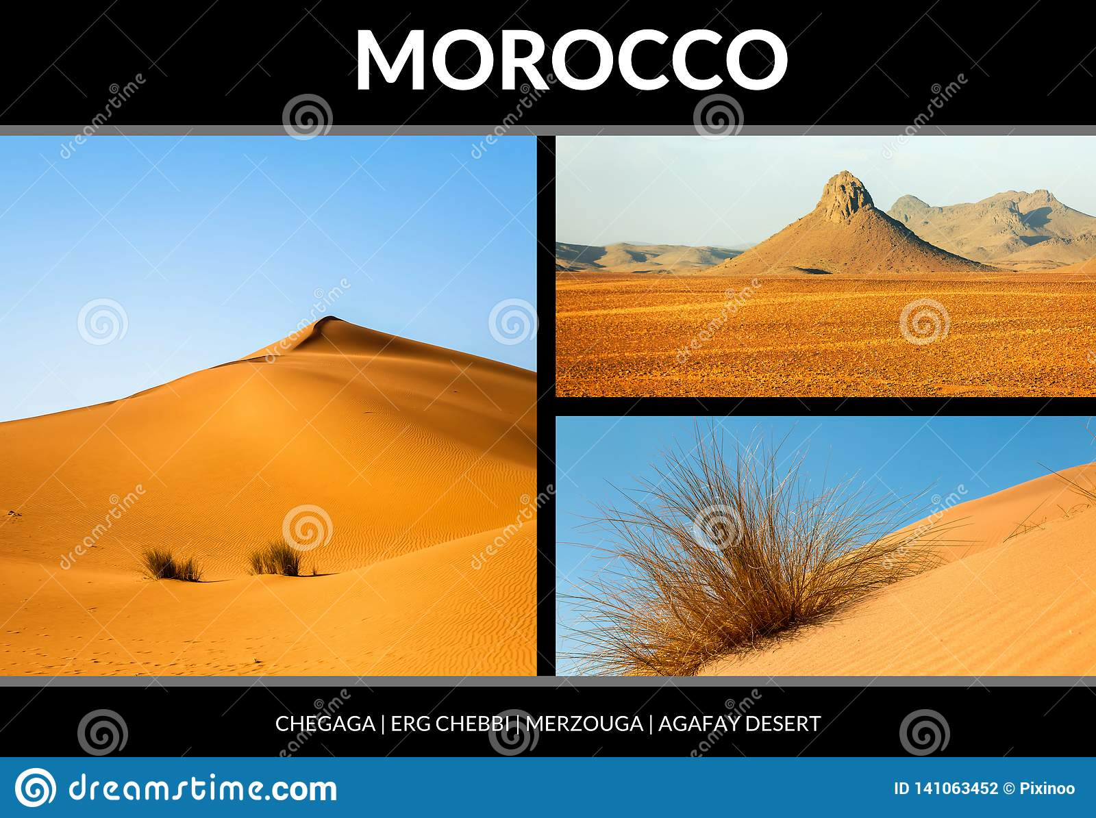 Collage av härliga landskap av den marockanska öknen