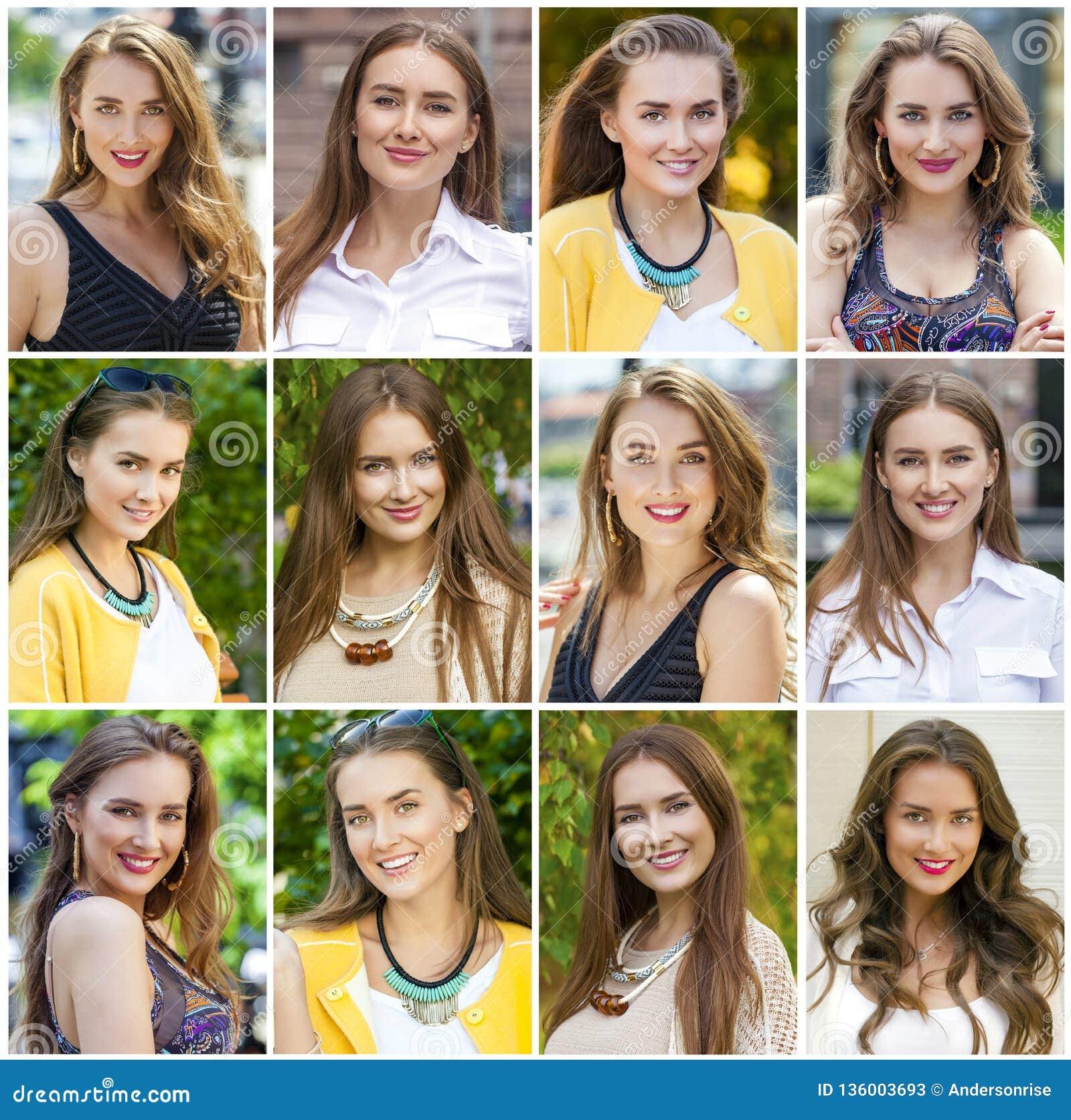 Collage av härliga unga kvinnor