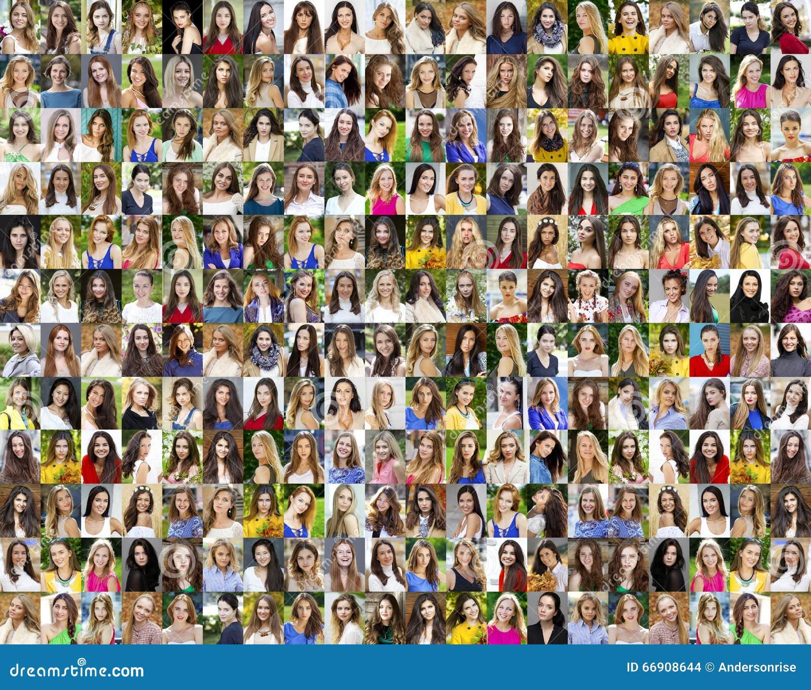Collage av härliga unga kvinnor mellan jaröst arton och trettio
