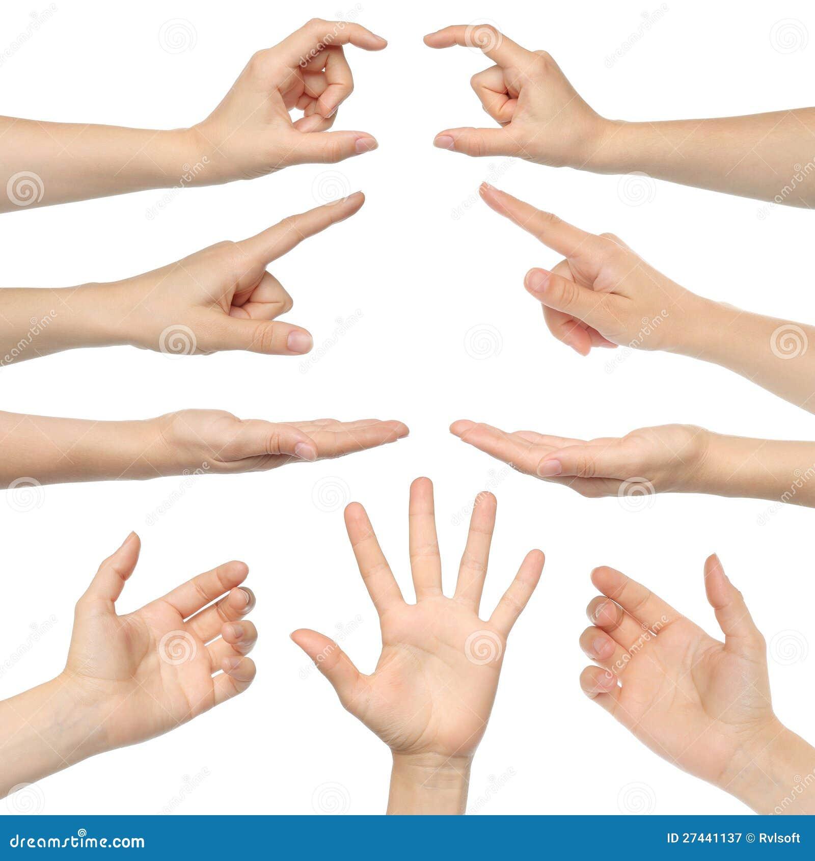 Collage av kvinnahänder