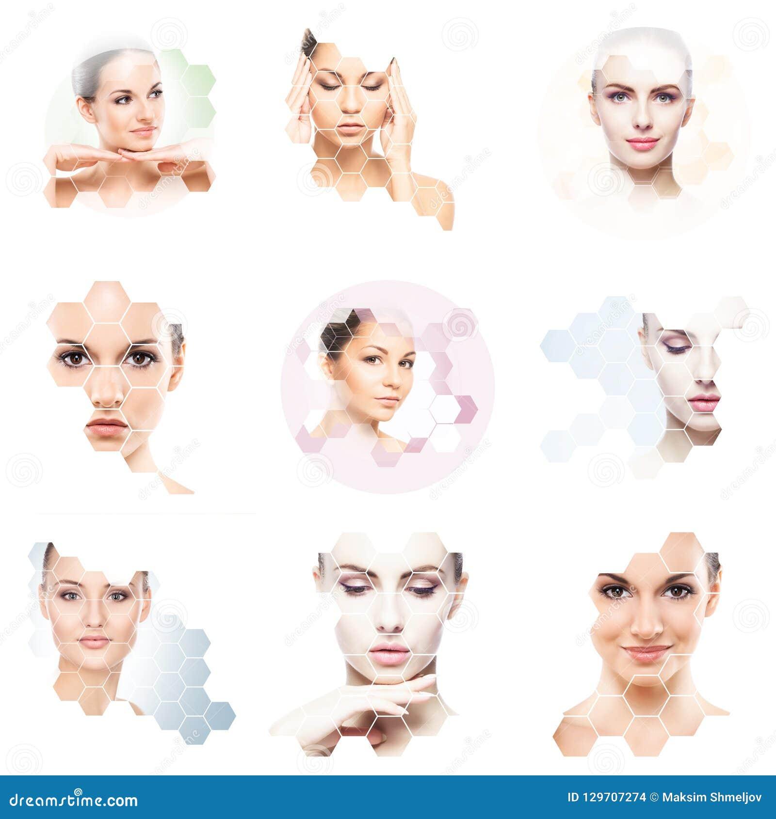 Collage av kvinnliga stående Sunda framsidor av unga kvinnor Spa lyfta för framsida, plastikkirurgicollagebegrepp