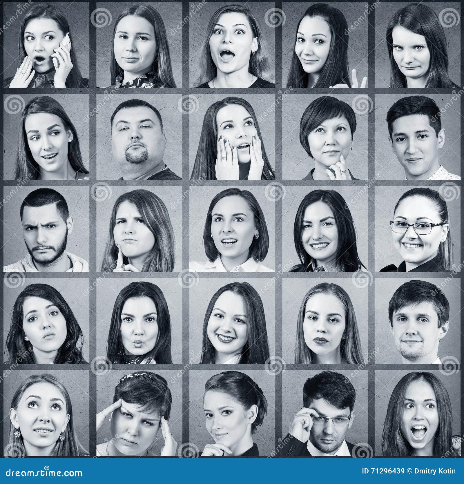 Collage Av Många Olika Personer Fotografering För Bildbyråer Bild